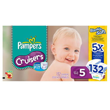 Pampers Cruisers Diapers, Size 5 (27+ lbs.), 132 ct.