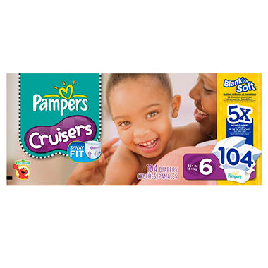 Pampers Cruisers Diapers, Size 6 (35+ lbs.), 104 ct.