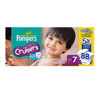 Pampers Cruisers Diapers, Size 7 (41+ lbs.), 88 ct.