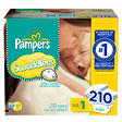 Pampers Swaddlers Diapers, Size 1 (8-14 lbs.), 210 ct.