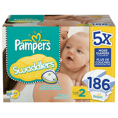 Pampers Swaddlers Diapers, Size 2 (12-18 lbs.), 186 ct.