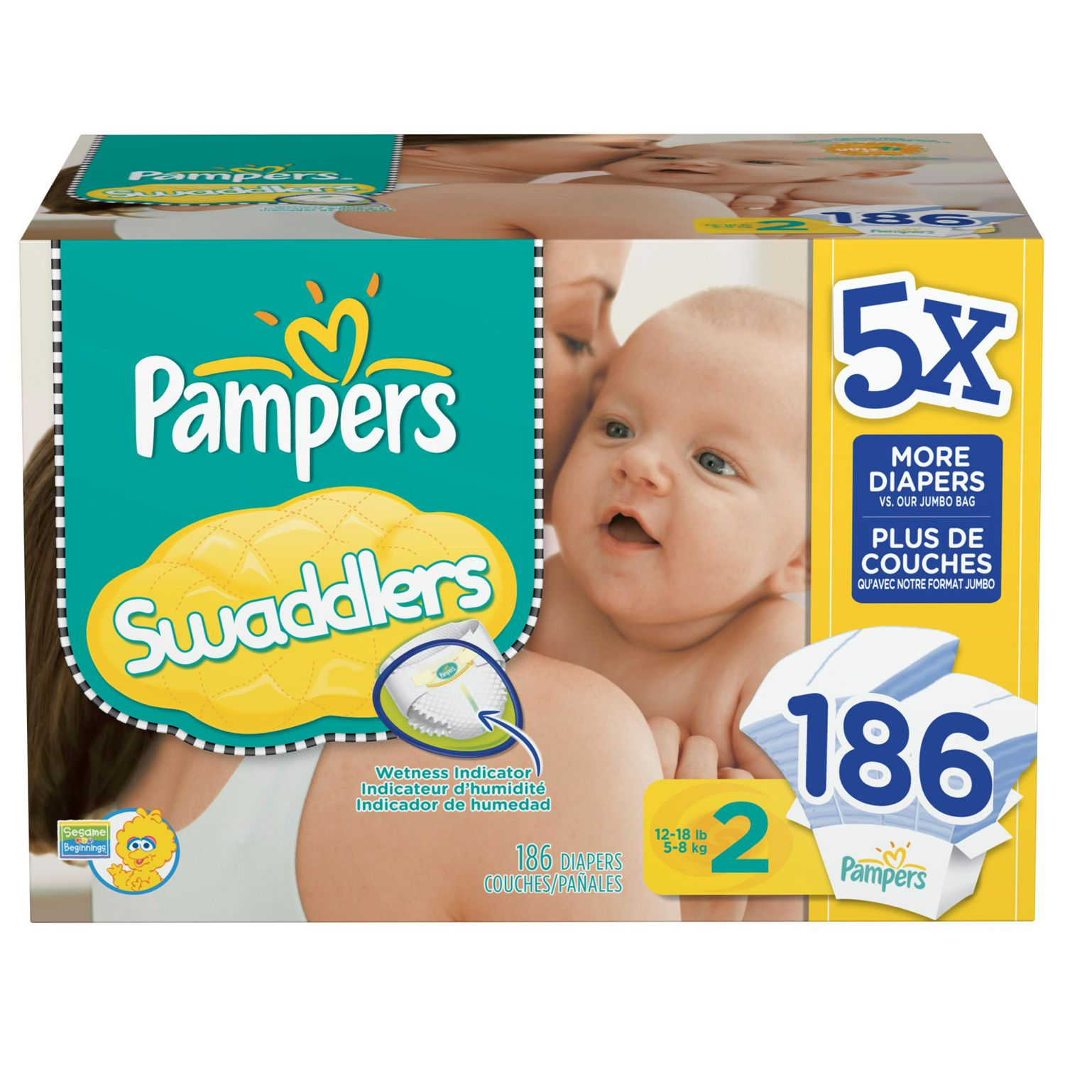Pampers Swaddlers Diapers, Size 2 (12-18 lbs.), 186 ct. Disposable Dipers at Sears.com
