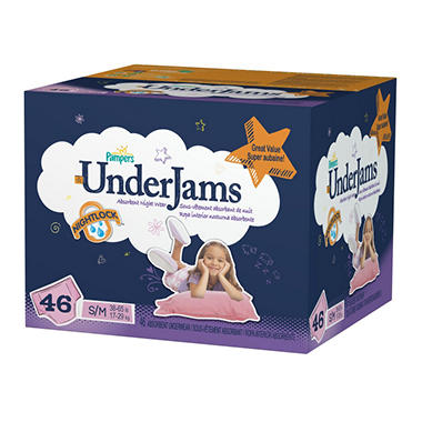 Pampers UnderJams for Girls, S/M, Size 7 (38-65 lbs.), 46 ct.