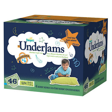 Pampers UnderJams for Boys, S/M, Size 7 (38-65 lbs.), 46 ct.