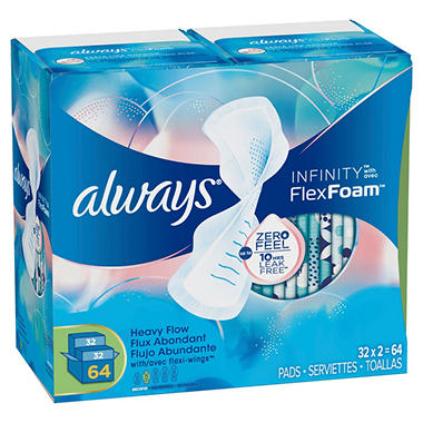 Always Infinity Pads - Regular or Super (64 ct.)