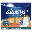 Always Ultra Thin Overnight Pads with Wings - 76 ct.