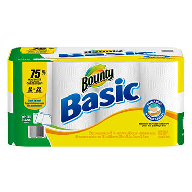 Bounty Basic Paper Towels, Super Rolls - 12 pk.