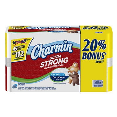 Charmin Ultra Strong Bath Tissue Bonus Pack - 45 Giant Rolls