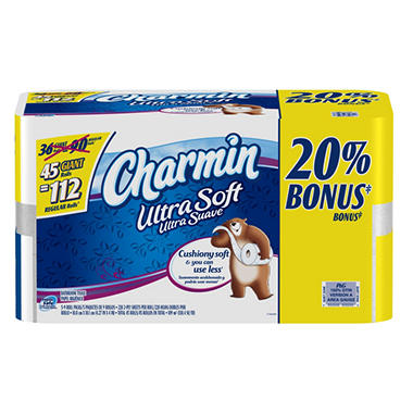 Charmin Ultra Soft Bath Tissue Bonus Pack - 45 Giant Rolls