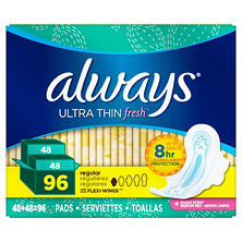 Always Ultra Thin Active Pads, Regular, Fresh Scent (96 ct.)