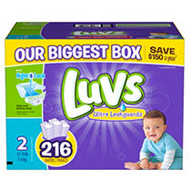 Luvs Ultra Leakguard Diapers, Size 2 (12-18 Lbs.), 216 Ct.