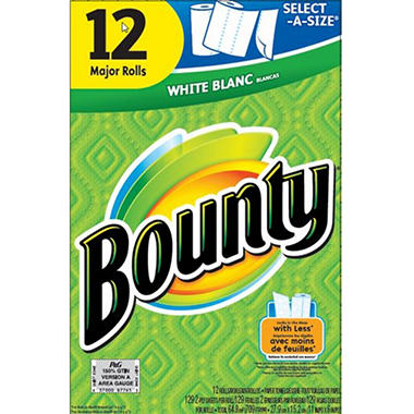 Bounty Select-A-Size, White - 12 Major Rolls