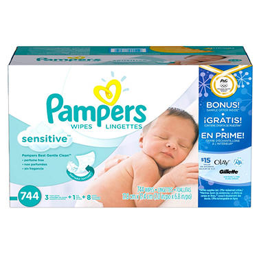 Pampers Sensitive Baby Wipes, 744 ct.