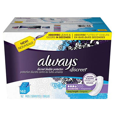 Always Discreet Pads, Moderate, Long (162 ct.)