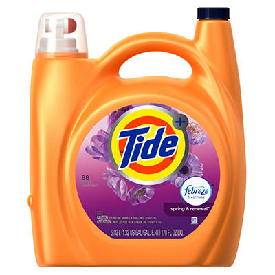 Tide Plus Febreze  Laundry Detergent, Spring & Renewal (170 oz., 88 Loads)
