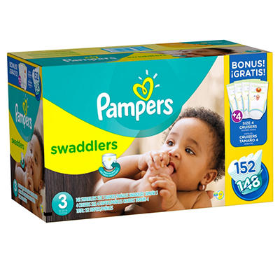 Pampers Swaddlers Diapers, Size 3 (16 - 28 lbs.), 152 ct. Bonus Pack