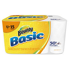 "Bounty Basic Paper Towels, 10.19"" x 10.98"", 1-Ply (55 sheets per roll, 12 rolls per pack)"