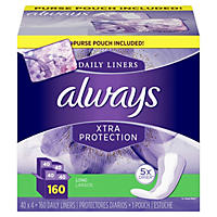 Always Xtra Protection Daily Liners, Long (160 ct.) with Purse Pouch