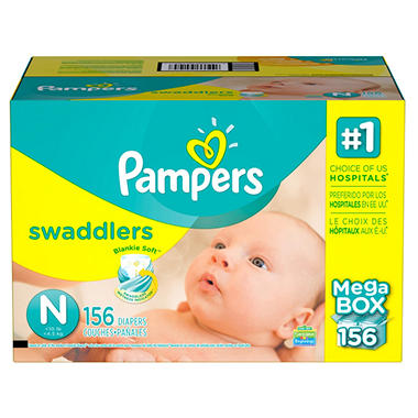 pampers swaddlers baby diapers size n newborn 156 count new free shipping ebay. Black Bedroom Furniture Sets. Home Design Ideas