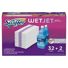 Swiffer Wetjet Mopping Refill Pack (32 Refill Pads plus 2 Bottles of Cleaner 1.25L ea.)