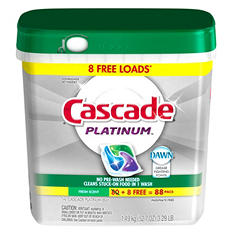 Cascade Platinum ActionPacs Dishwasher Detergent, Fresh Scent (88 ct.)