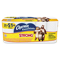 Charmin Essentials Strong Bathroom Tissue, 1-Ply, (300 sheets per roll, 20 rolls per pack)