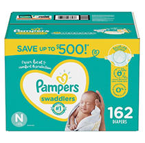 Pampers Swaddlers Diapers, Newborn (162 ct.)