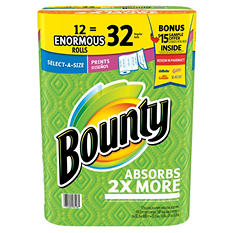 Bounty Enormous Roll Bonus Pack-$15 Free Sample Voucher included (12 rolls,168 sheets per roll)