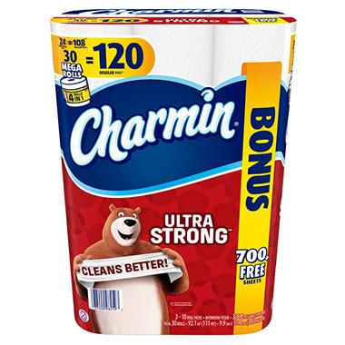 Charmin Ultra Strong Toilet Paper 30 Mega Rolls Bonus Pack
