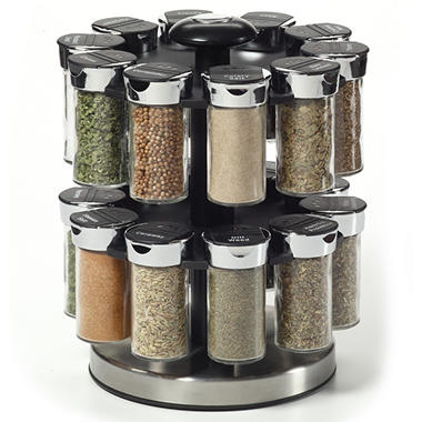 20-Jar Rotating Spice Rack with Premium Spices
