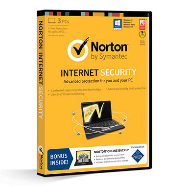 Norton Internet Security *Bonus Norton Online Backup Included 1 Year Protection Up to 3 PCs