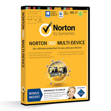 Norton 360 Multi-Device *Bonus NortonLive PC Tune Up Included 1 Year Protection Up to 5 Devices