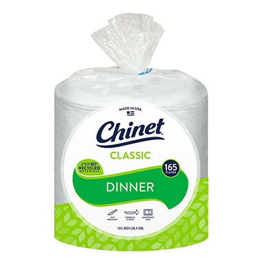 "Chinet Classic Dinner Paper Plates, 10 3/8"" (165 ct.)"
