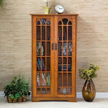 Oak Media Storage Cabinet