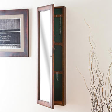 """Hideaway"" Wall Mount Jewelry Mirror - Walnut"
