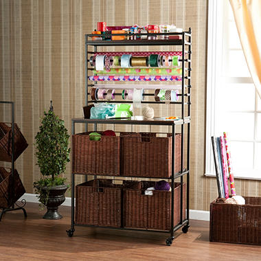 Craft Room Rack with Basket - Black