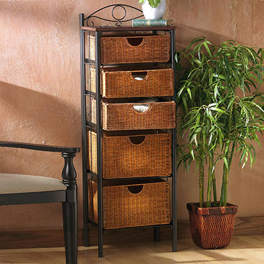 5 Drawer Wicker Storage