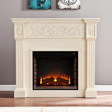 Del Ray Electric Fireplace - Ivory.