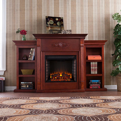 Emerson Electric Fireplace w/ Bookcases - Mahogany