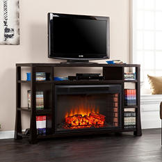 Angelino Media Console Fireplace - Ebony Stain