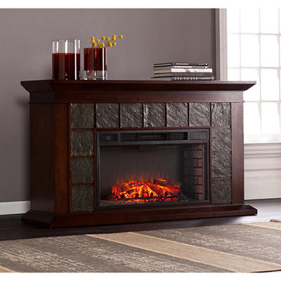 Eldorado Faux Slate Fireplace - Warm Brown Walnut