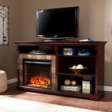 Addison Media Console Fireplace - Espresso