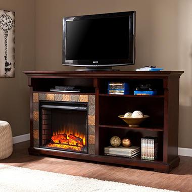 Addison Media Console Fireplace - Espresso
