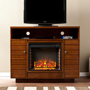 Graciella Media Console Fireplace - Dark Tobaco/Espresso