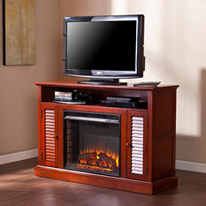 Chatsworth Media Console Fireplace  - Classic Mahogany