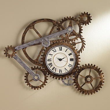 Gear Wall Art With Clock   SC1912R