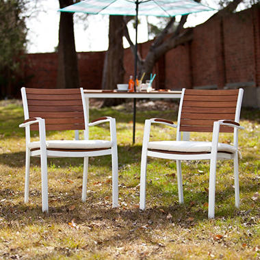 Nantucket Outdoor Easy Chairs 2-Piece Set-Soft - White Finish