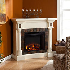 Mirage II Ivory Convertible Electric Fireplace