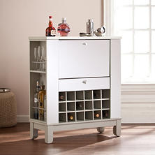 Illusion Mirrored Bar Cabinet with Wine Rack