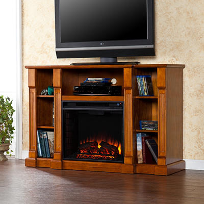 Athena Media Console  Fireplace - Glazed Pine